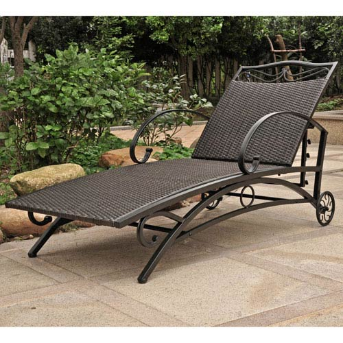 International Caravan Valencia Black Antique Multi Position Single Chaise Lounge