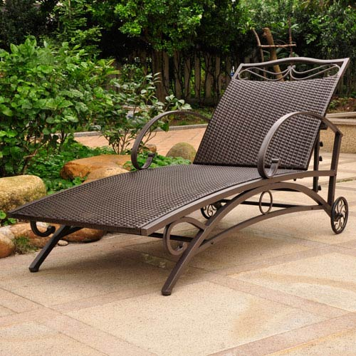 International Caravan Valencia Chocolate Multi Position Single Chaise Lounge