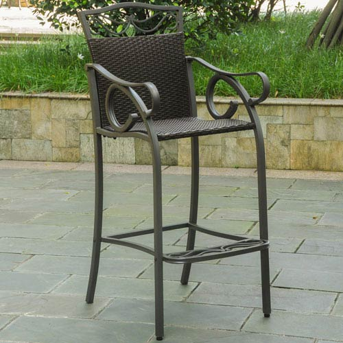 Set of 2 Valencia Resin Wicker/Steel Bar Bistro Chairs