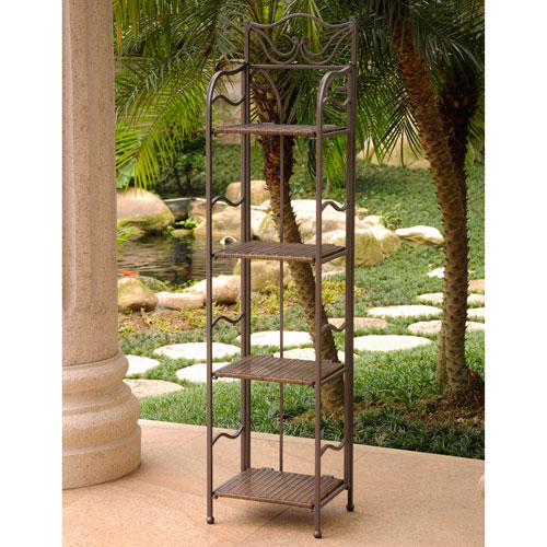 Valencia 4-Tier 12-inch Wide Plant Stand, Antique Brown