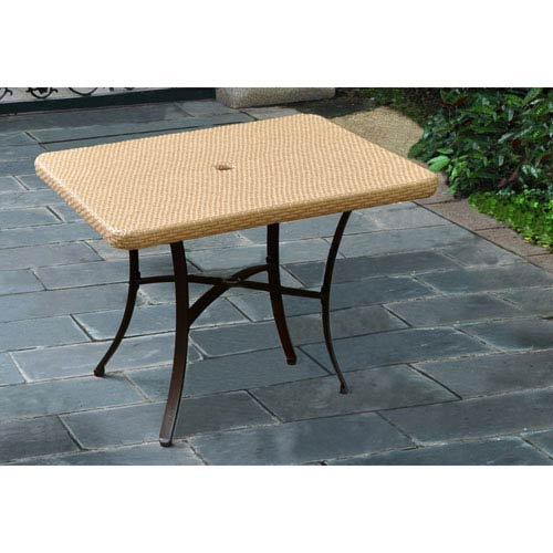 International Caravan Barcelona Resin Wicker/Aluminum 39-inch Square Dining Table, Honey