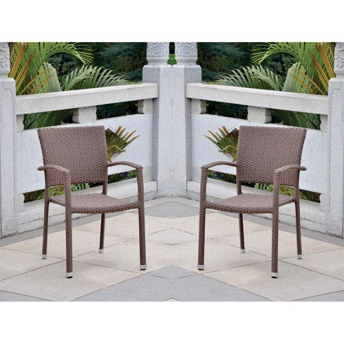 Barcelona Set of Two Resin Wicker Square Back Dining Chair