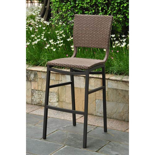 Outstanding International Caravan Barcelona Set Of Two Resin Wicker Aluminum Bar Stools Bralicious Painted Fabric Chair Ideas Braliciousco