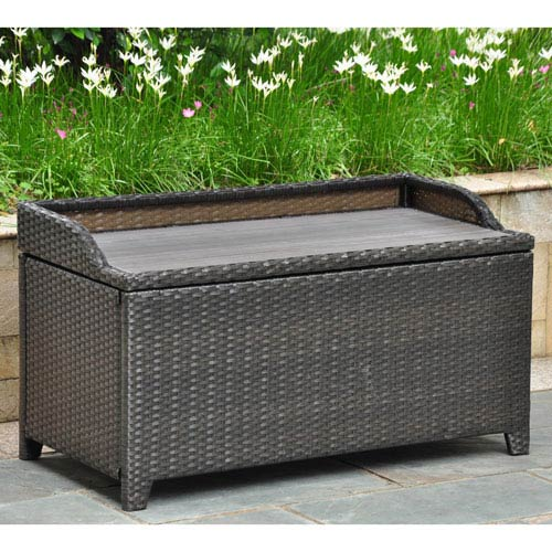 Barcelona Resin Wicker/ Aluminum Storage Bench with Edge Lip