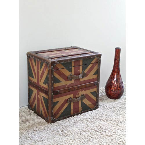Two Drawer Union Jack End Table, Union Jack