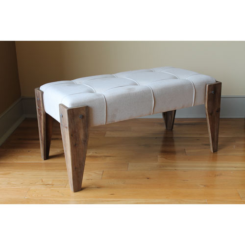 Rustic Elegance Rectangular Tuffed Fabric Bench, Natural Fabric