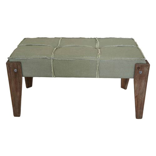 Tuffed Sage Fabric Bench with Rustic Fringe, Sage Fringe Fabric