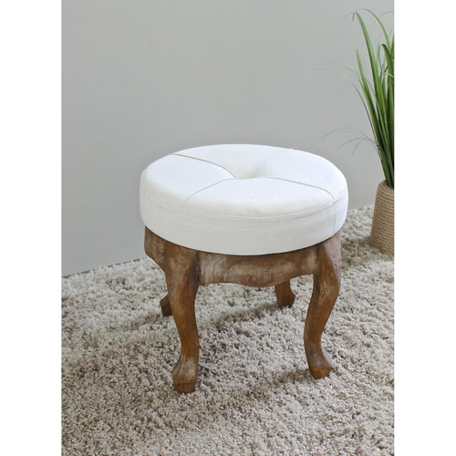 International Caravan Round Stool with Tufted Natural Fabric, Natural Fabric