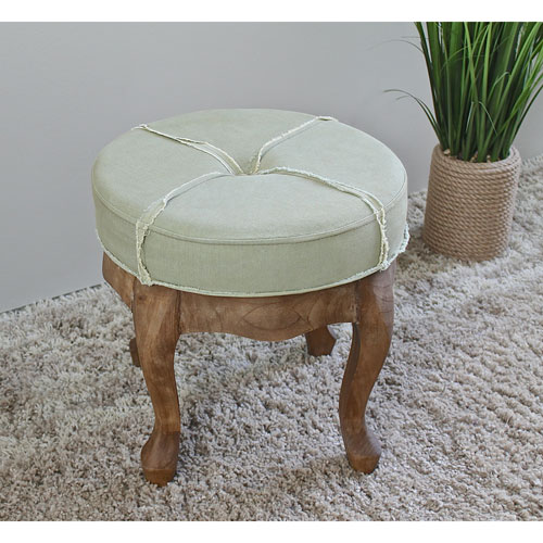 International Caravan Round Stool with Tufted Sage Fabric, Sage Fringe Fabric