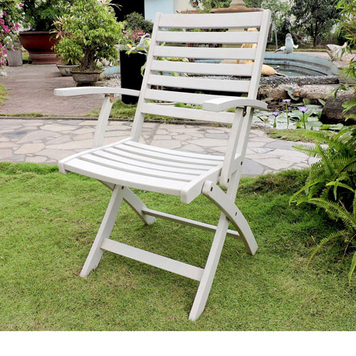 Acacia Folding S/2 Ladder Back Armchair with Antique White Finish