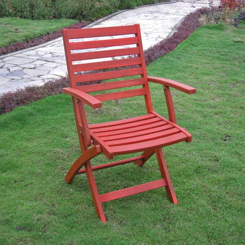 Acacia Folding S/2 Ladder Back Armchair with Barn Red Finish