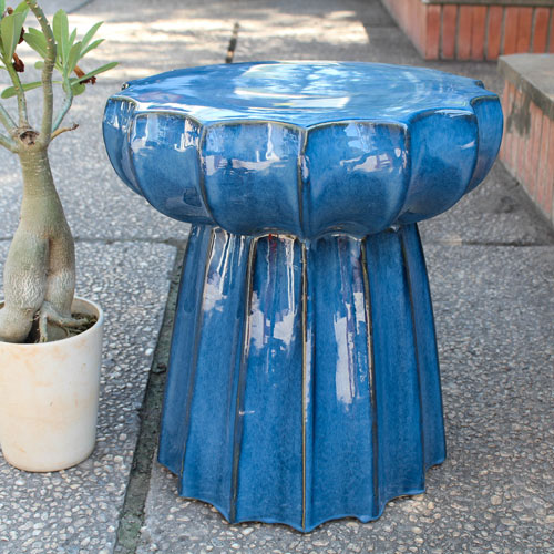 Navy Blue Round Scalloped Ceramic Garden Stool