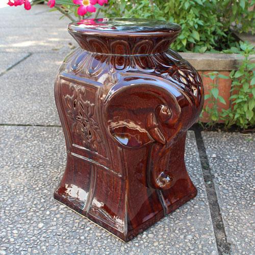 International Caravan Brown Glazed Contemporary Elephant Ceramic Garden Stool