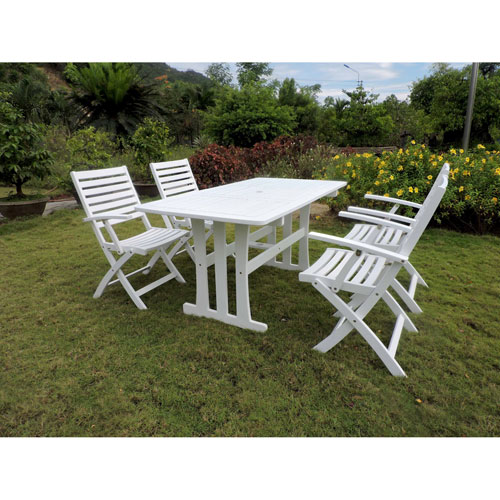 International Caravan Ispica Acacia Wood Five Piece Dining Group, Antique White
