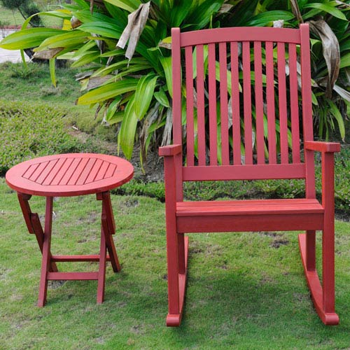 Nicosia Acacia Wood Rocker and Side Table