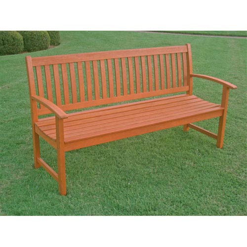 International Caravan Royal Tahiti Outdoor Wood Three Seat Bench