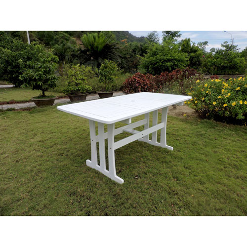 Acacia Rectangular Dining Table, Antique White