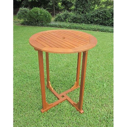 Royal Tahiti Outdoor Wood Bar Height Round Table