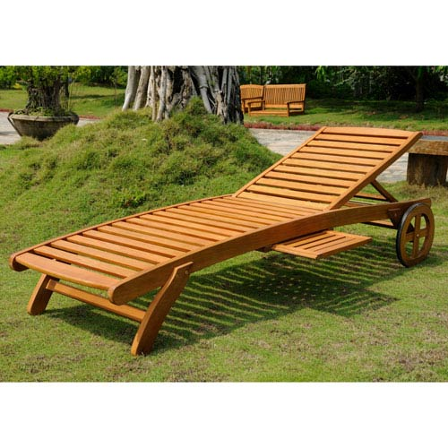 Royal Tahiti Outdoor Wood Chaise Lounge with Wheels, Brown Stain