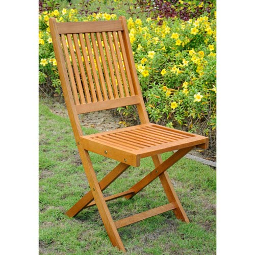 Royal Tahiti Set of 2 Outdoor Folding Garden Chair, Brown Stain