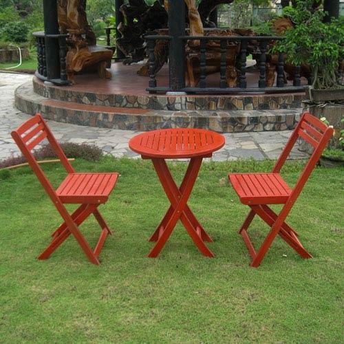 Set of 3 Acacia Folding Bistro Set