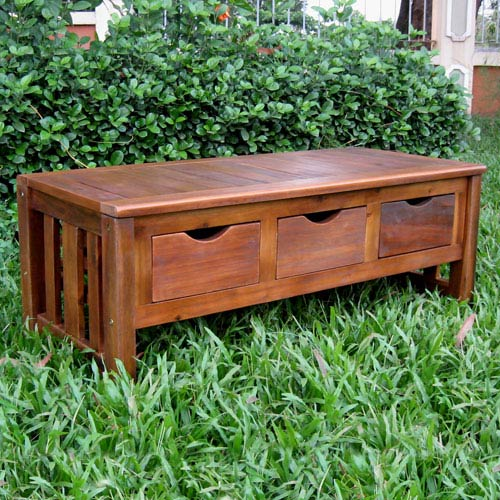 Acacia Brown Three Drawer Bench without Back