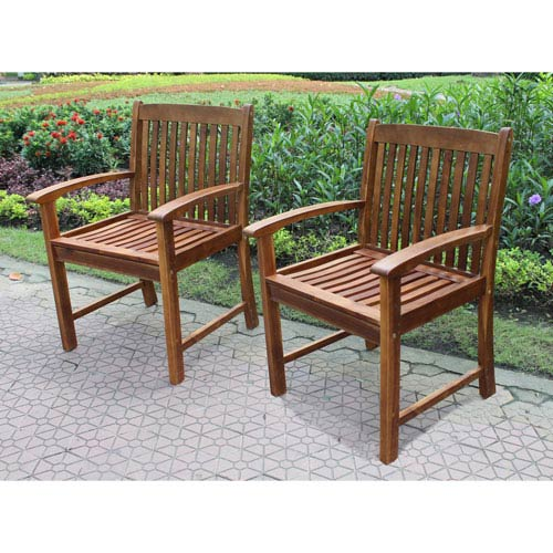 Highland Set of Two Acacia Hudson Arm Chair