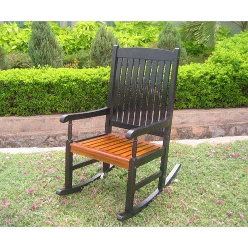 International Caravan Acacia Wood Black Outdoor Porch Rocker