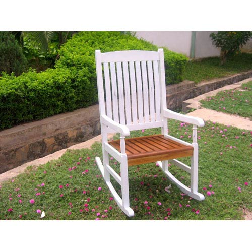 International Caravan Acacia Wood White Outdoor Wood Porch Rocker