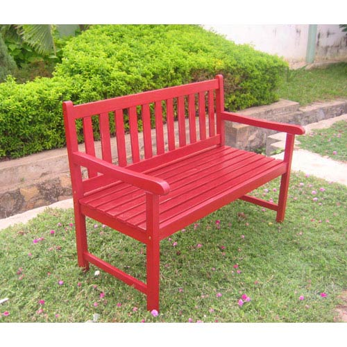 Acacia Wood Antique Red Outdoor Four Ft. Bench