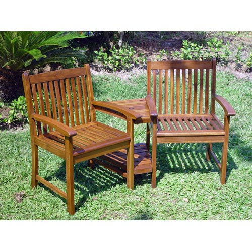 Acacia Wood Outdoor Corner Double Chair