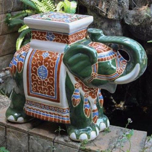 Large Porcelain Elephant Garden Stool