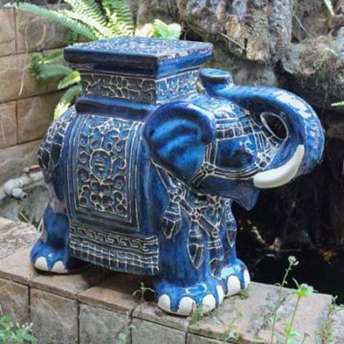 Dark Blue Large Porcelain Elephant Garden Stool
