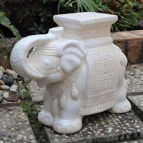 Large Porcelain Elephant Stool, White Wash Glaze