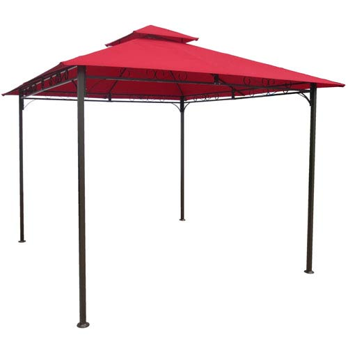 Square Vented Canopy Gazebo, Ruby Red