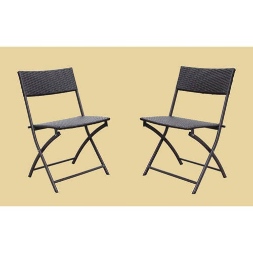 Set of 2 Resin Wicker Folding Chairs, Antique Bronze