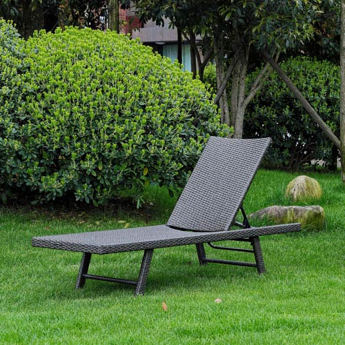 Barbados Resin Wicker Multi-Position Chaise Lounge, Antique Grey