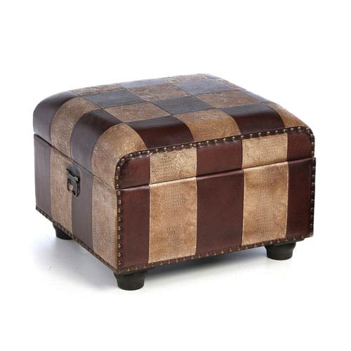 Faux Leather Ottoman Trunk w/Lid