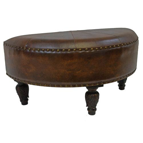Faux Leather Half Moon Ottoman