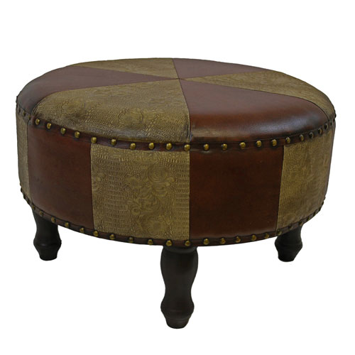 Large Round Faux Leather Stool