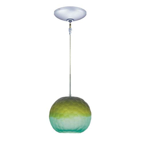Envisage VI Chrome One-Light Low Voltage Globe Mini Pendant with Blue and Green Shade