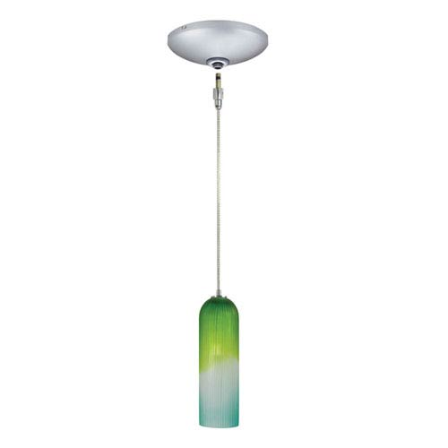 Envisage VI Satin Nickel One-Light Low Voltage Mini Pendant with Blue and Green Shade