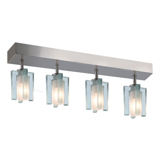 Satin Nickel Four-Light Flush Mount with Clear Frosted Shades