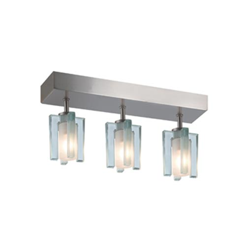 Akina Satin Nickel Three-Light Sem-Flush with Clear-Frosted Glass