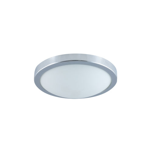 Chrome One-Light Fluorescent Flush Mount with Frosted Glass