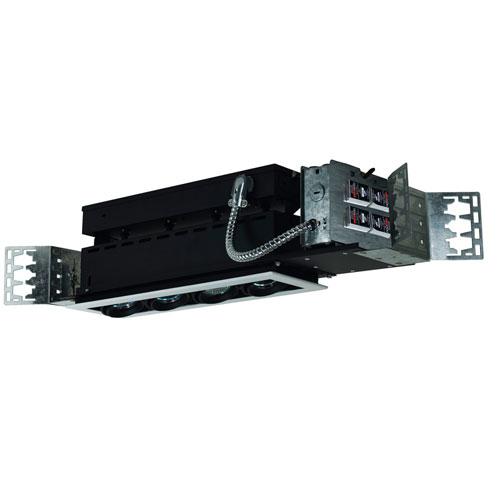 Black Four-Light Low Voltage Linear New Construction Fixture with White Trim
