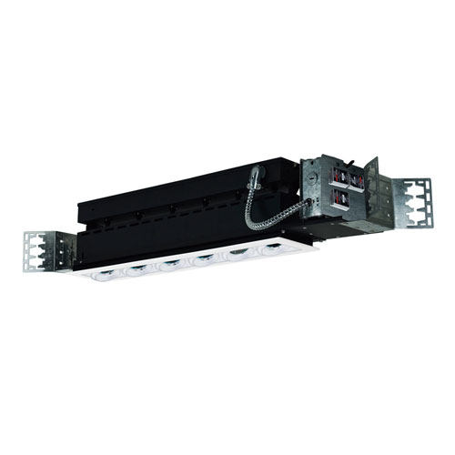 White Six-Light Low Voltage Linear New Construction Fixture