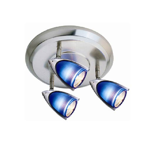Satin Chrome Three-Light Ceiling Mount with Blue Shades