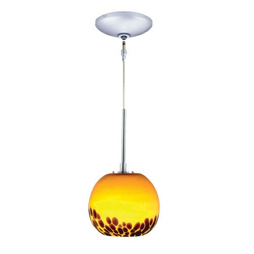 Envisage VI Chrome One-Light Low Voltage Globe Mini Pendant with Amber Shade