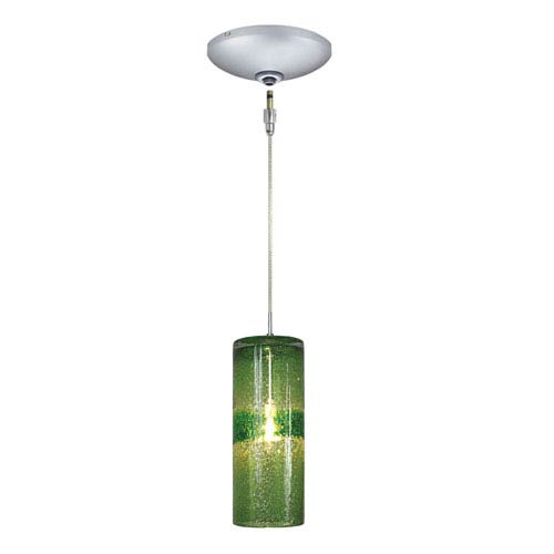 Envisage VI Satin Nickel One-Light Low Voltage Cylinder Mini Pendant with Green Glass